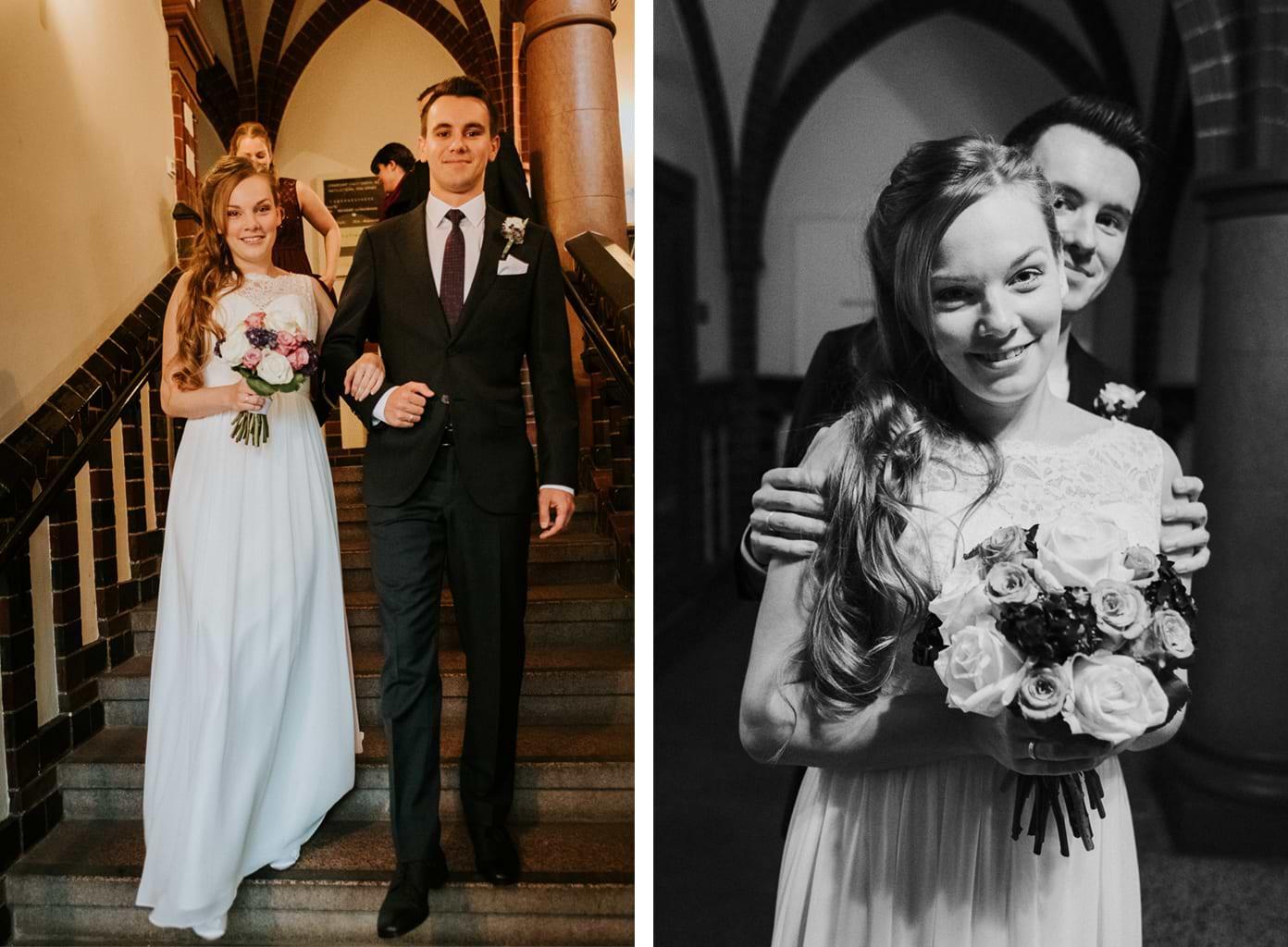 Glückliches Brautpaar nach der Trauung