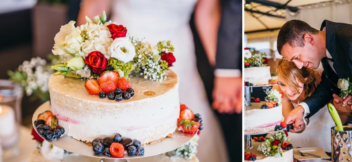 Anschnitt der Hochzeitstorte