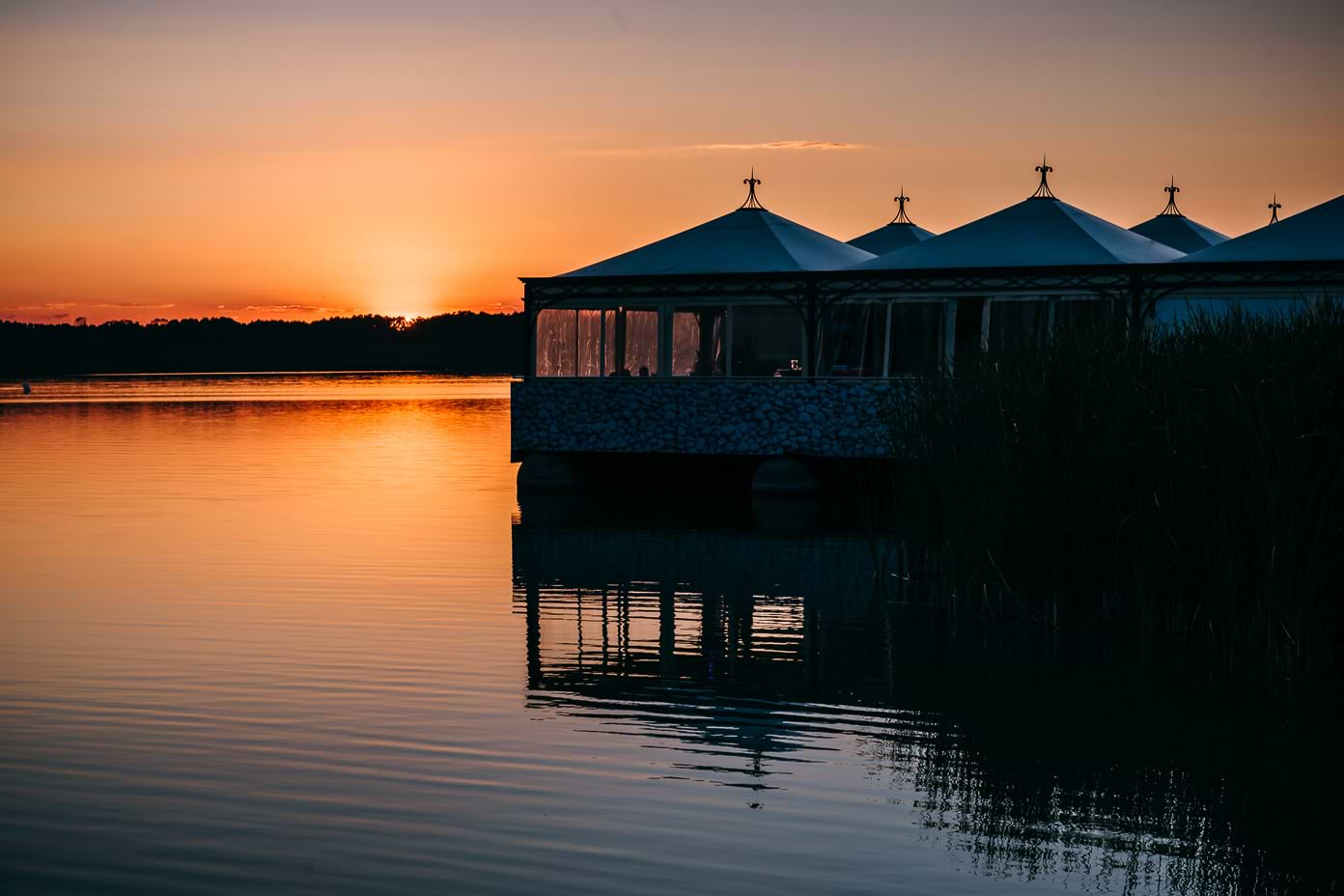 Insel Falkenstein im Sonnenuntergang