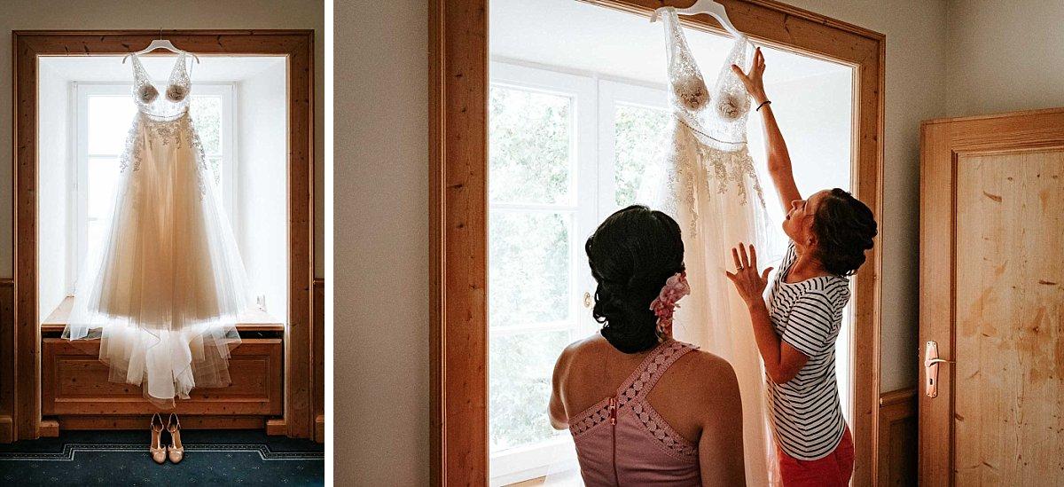 Brautkleid im Gegenlicht