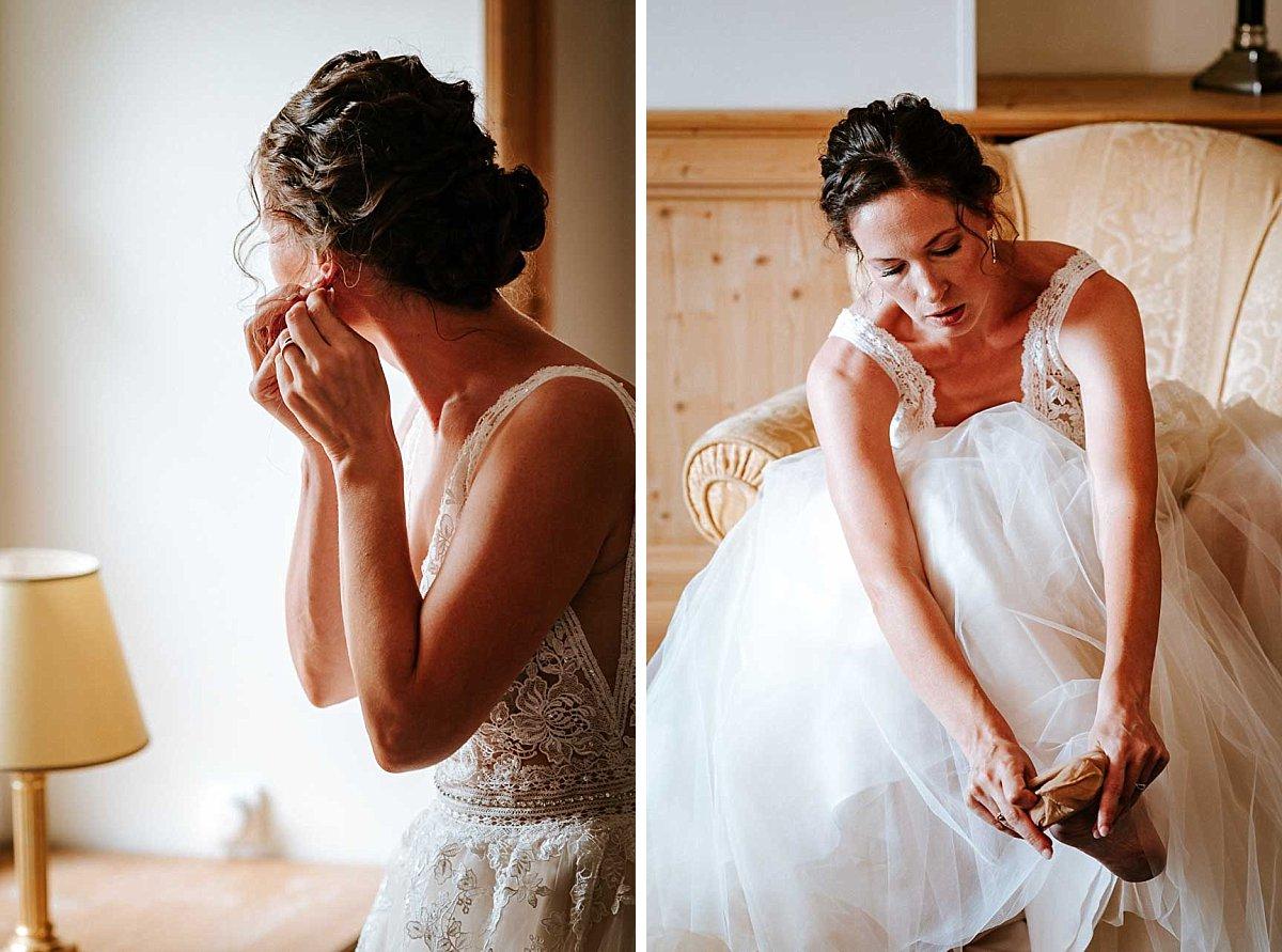 Braut kleidet sich an