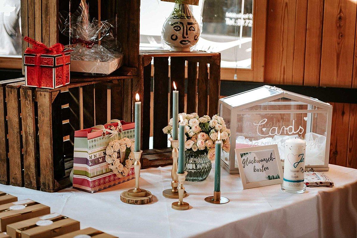 Hochzeitsdekoration auf Schloss Diedersdorf