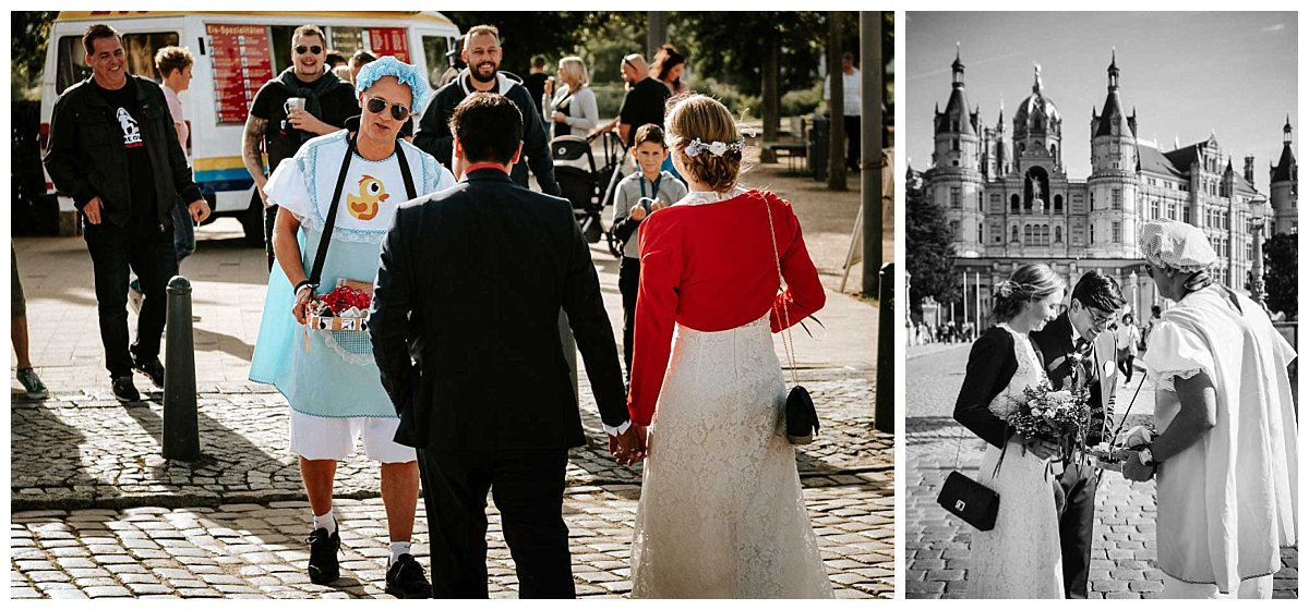 Brautpaar mit Junggesellenabschied am Schweriner Schloss